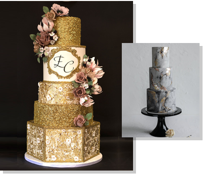 Golden/Silver Wedding Cakes